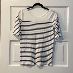 Ann Taylor striped elbow sleeve shirt
